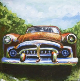 Packard 12 x 12 fine artwork painting by Ellen Leigh of a rusted out old Packard automobile.