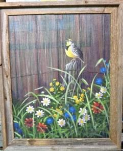 Meadowlark 16 x 20 fine artwork painting by Ellen Leigh wildflowers with a singing meadowlark on a fencepost, barn siding background.
