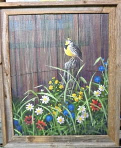 Meadowlark 16 x 20 fine artwork painting by Ellen Leigh wildflowers with a singing meadowlark on a fencepost, barn siding background.