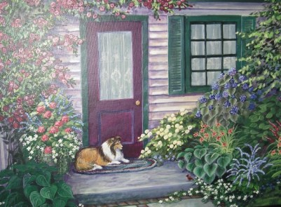 Bonnie in the Garden NFS p fine artwork painting of the artist's favorite Sheltie, waiting by the door in her garden.