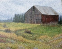 The Barn 16 x 20 fine artwork painting by Ellen Leigh in pointillism style held in private collection