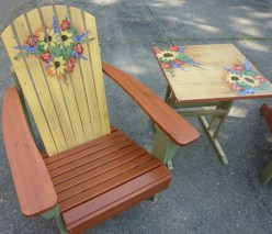 Cottage style deck furniture, stained, distressed and glazed, hand painted details by Ellen Leigh