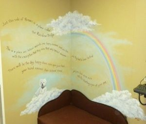 Rainbow Bridge Mural in euthanasia room at veterinary office. Mural by Ellen Leigh