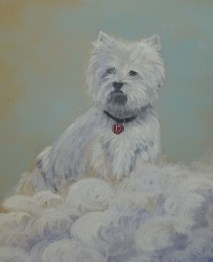 West Highland Terrier part of a mural painting, portrait of the donor's dog.