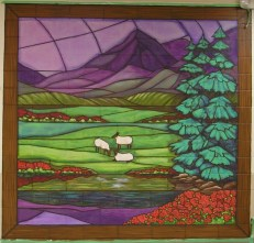 23rd Psalm stained glass murals. Green Pastures. Mural by Ellen Leigh.