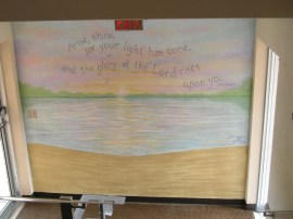 Landing wall at the parking lot door. Water scene and bible verse. Mural by Ellen Leigh