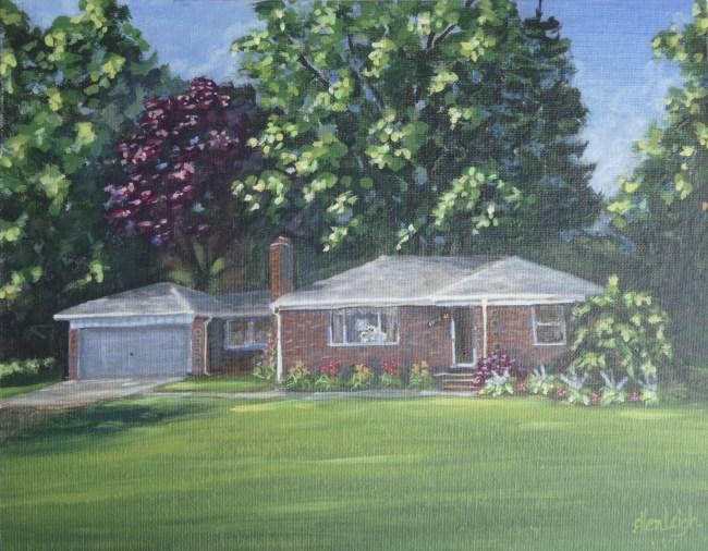 A commissioned house portrait by Michigan fine artist, Ellen Leigh