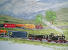 Train room mural. All walls painted with hills, an d plentry of tracks and roads. Mural by Ellen Leigh