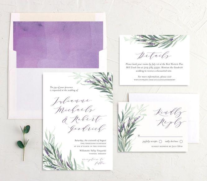 Lavender Sage Wedding Invitations Elli