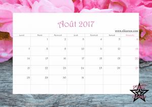 Calendrier 2017 Ellia Rose août