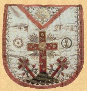 Mandil masónico antiguo de Caballero Rosacruz