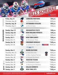Buffalo Bills 2015 Schedule Presented by Ellicott Hospitality