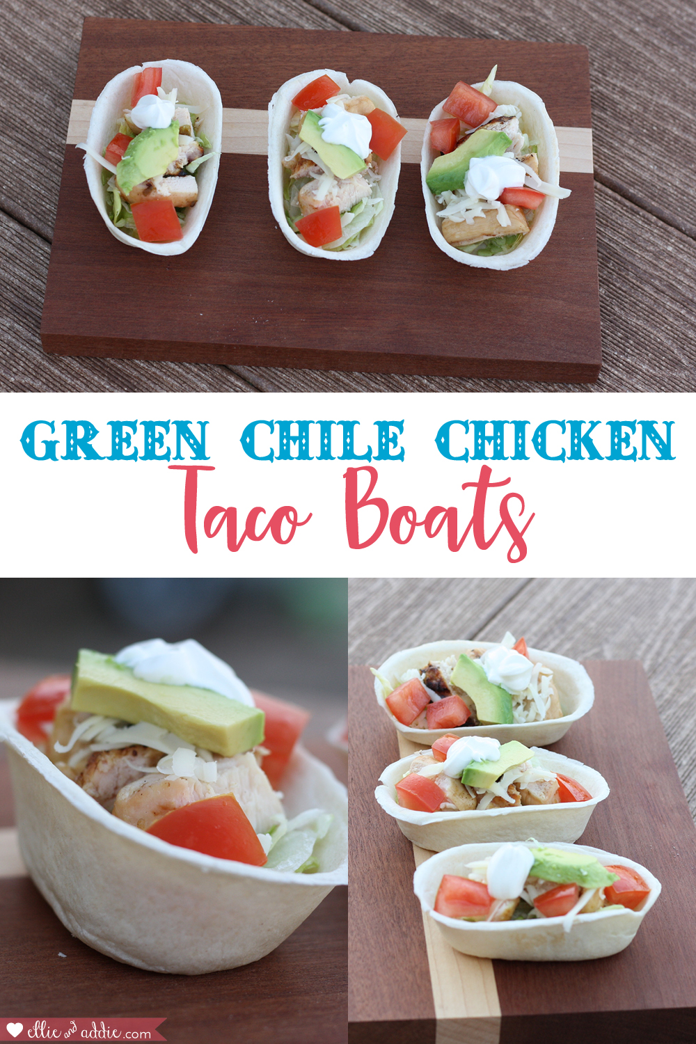 Green Chile Chicken Tacos Boats | Ellie And Addie