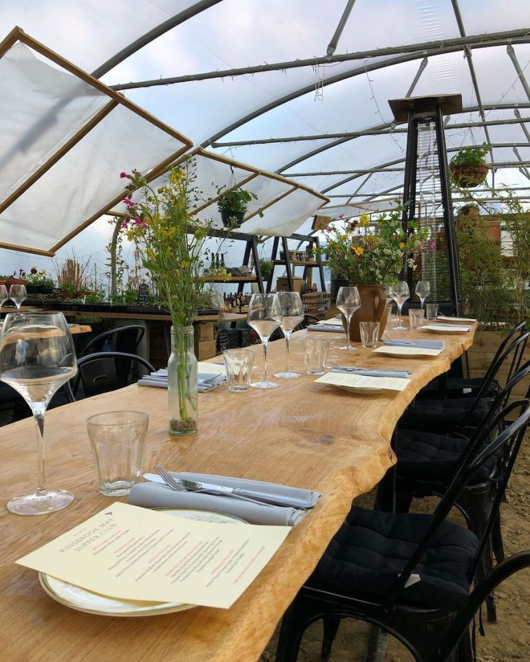 table in greenhouse