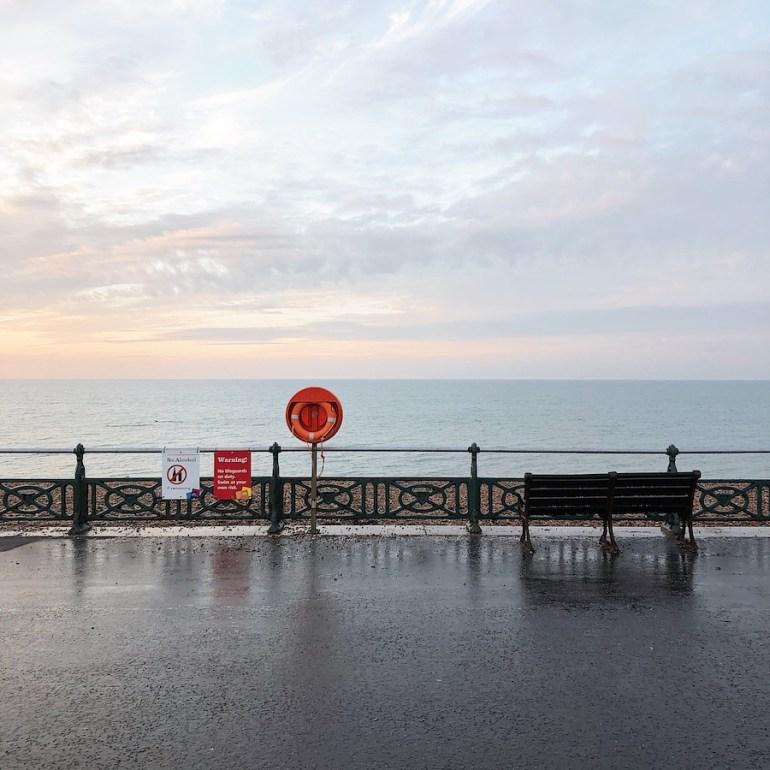 Brighton seafront in rain