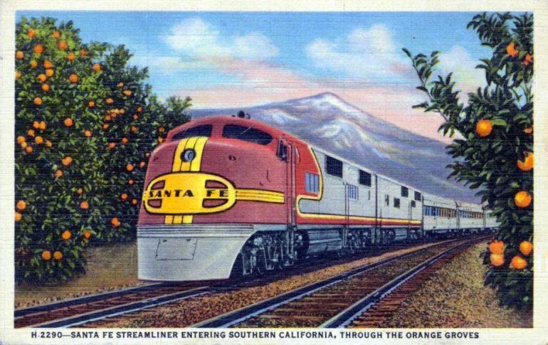 super chief train postcard