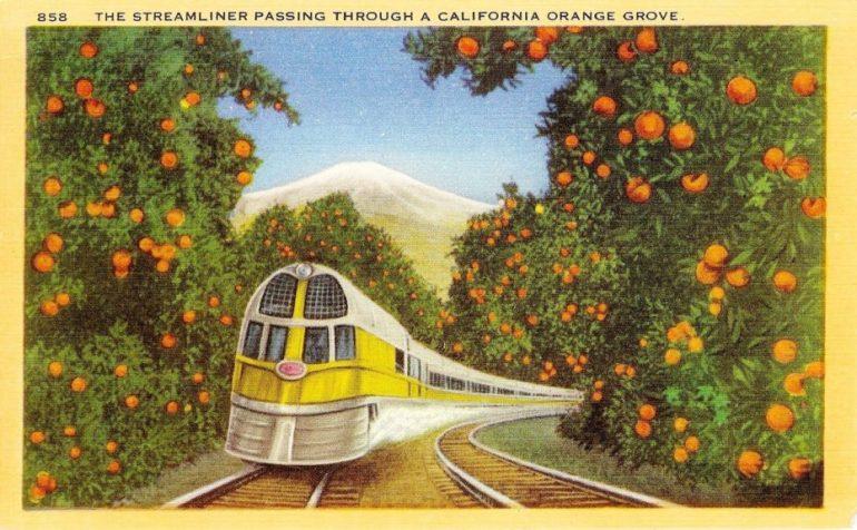 coloured postcard of train