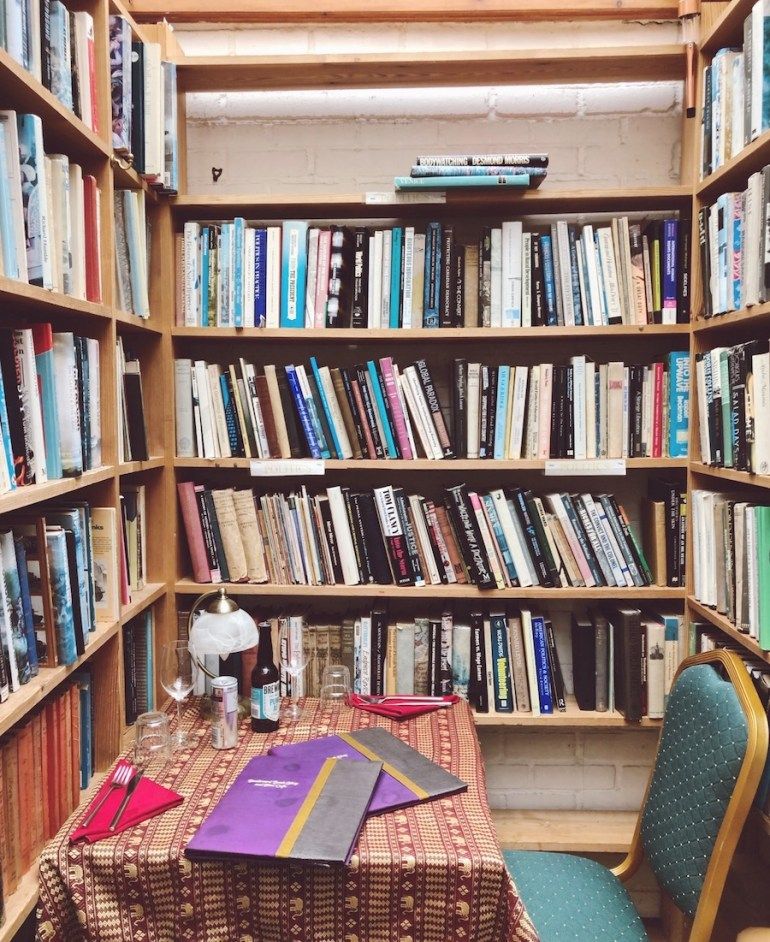 table in a bookshop