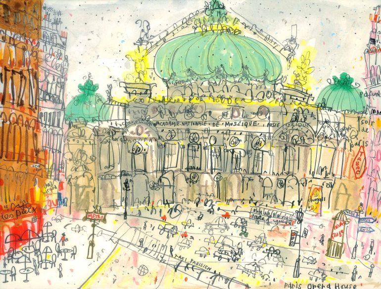 paris opera house illustration