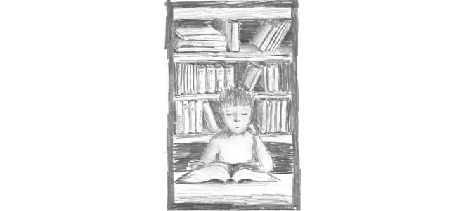 "Student revising illustration - ""Exam"" microfiction"