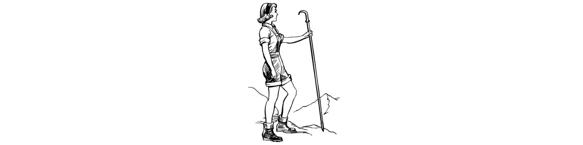"Woman hiking illustration - ""Looking Back"" microfiction"