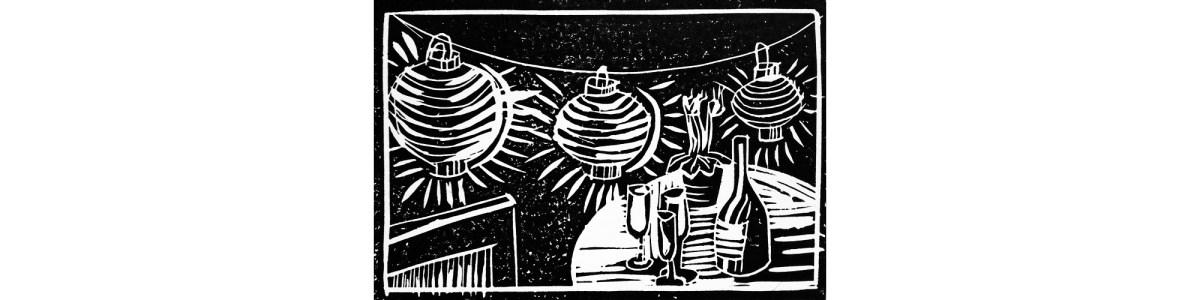 Linocut summer festival illustration