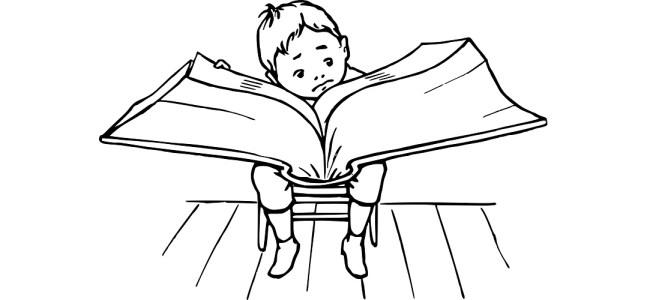 "Boy reading big book illustration - ""I refuse to stop reading bad books"" blog"