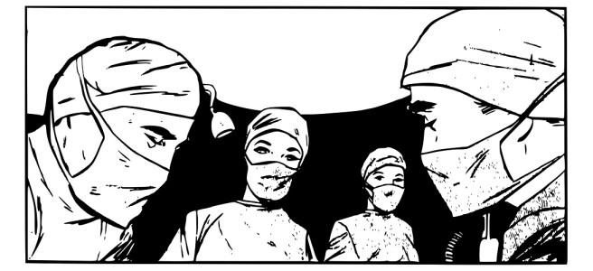 "Surgeons illustration - ""The Pioneer"" microfiction"