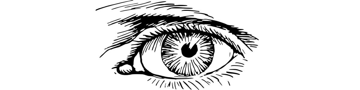 """Eye illustration - """"I Gave Her My Glock"""" flash fiction"""
