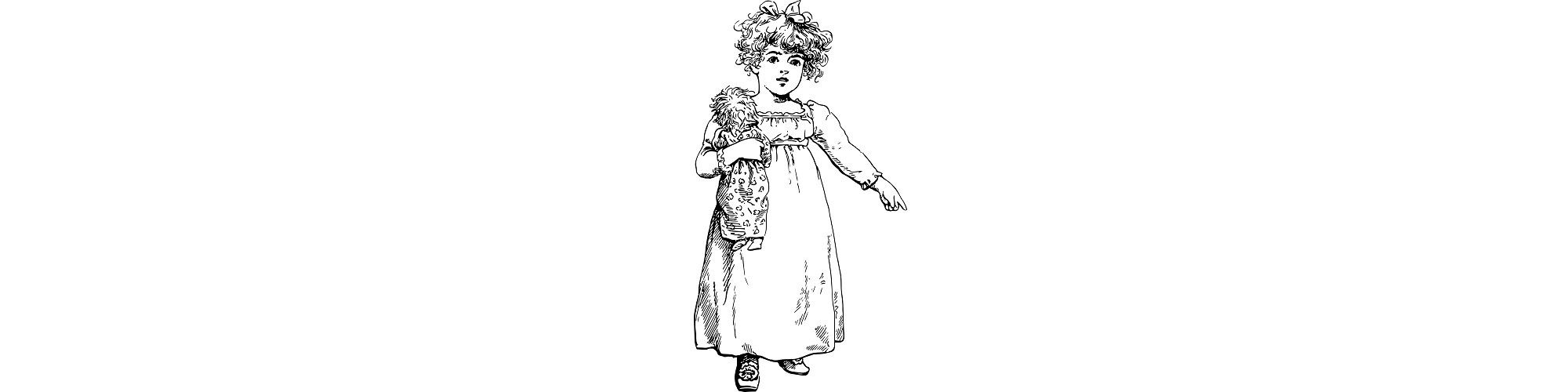 "Illustration of little girl pointing - ""Questions for kids"" flash fiction"