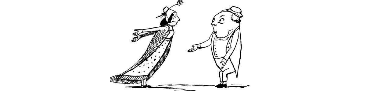 "Edward Lear arguing couple illustration - ""Get Out"" flash fiction"
