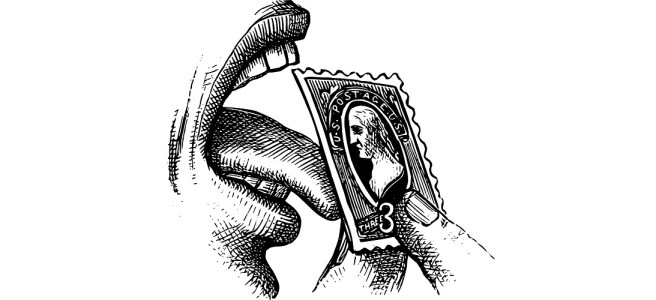 """Mouth and tongue licking a stamp illustration - """"Blame the Parents"""" microfiction"""