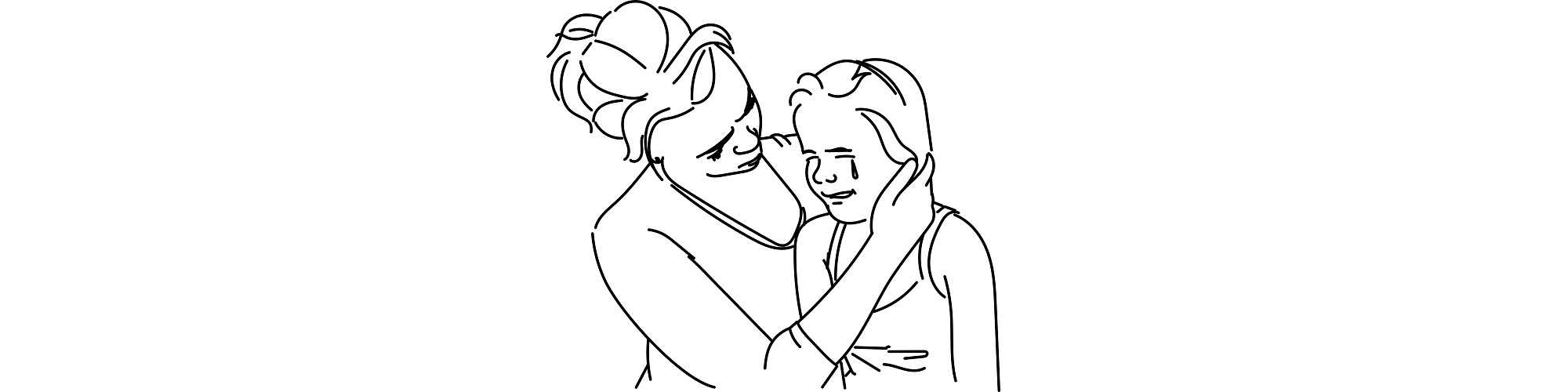 """Crying girl comforted by mother illustration - """"She's Nine, She's Not an Idiot"""" short story"""