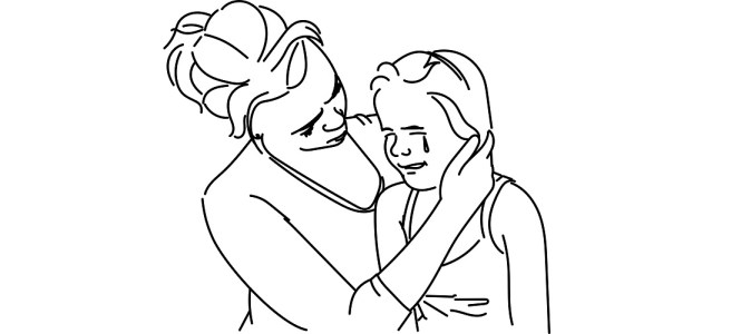 "Crying girl comforted by mother illustration - ""She's Nine, She's Not an Idiot"" short story"