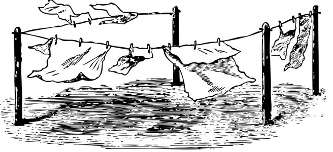 "Washing line with clothes illustration - ""A Conversation from the Washing Line"" flash fiction"