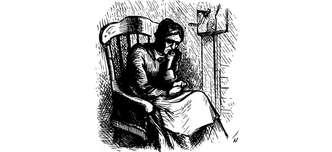 "An old woman in a rocking chair line drawing illustration - ""A Snapshot of Destiny"" flash fiction"