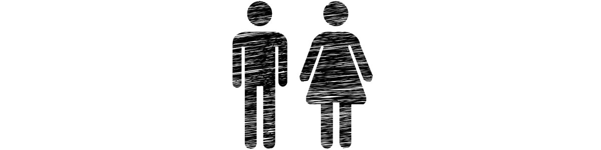 "Scribbled male and female toilet symbols - ""Don't Trust the Toilets"" microfiction"