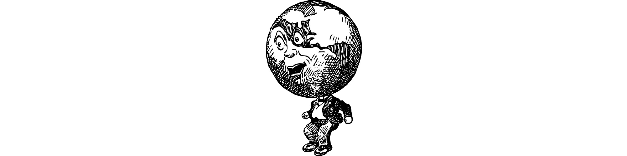 "Globe-headed man illustration - ""The Earth Died Swearing"" microfiction"
