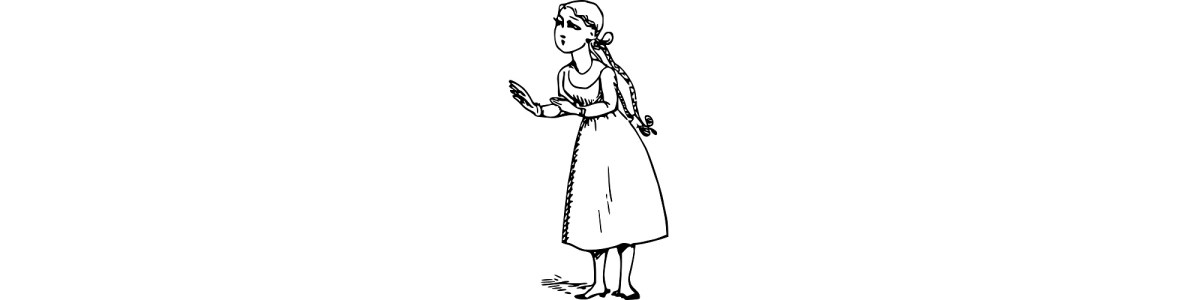 """Illustration of girl with long plaits - """"Behind the Cupboard Door"""" microfiction"""