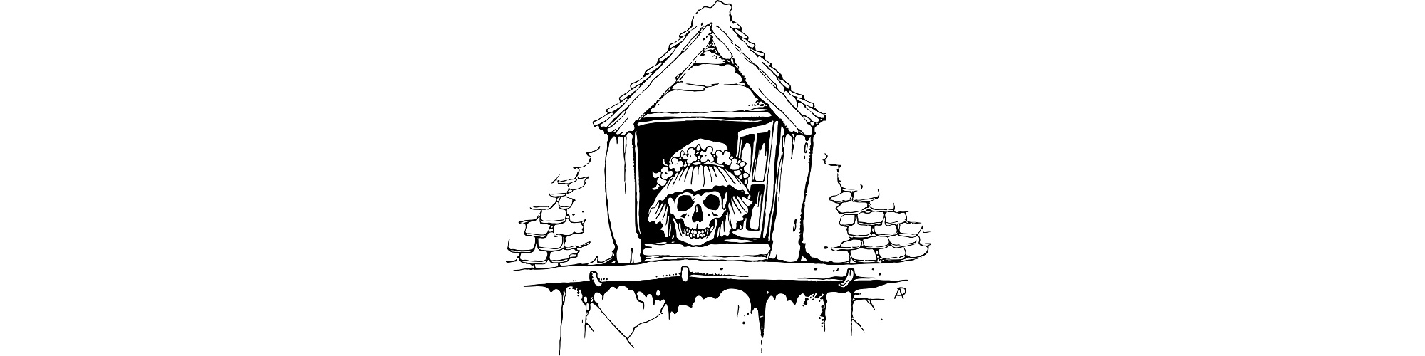 "Illustration of a skull at an old window. ""My Evening Routine"" microfiction"
