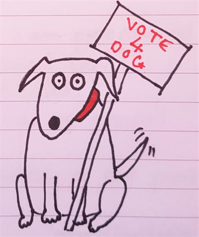"Cartoon dog holding ""Vote 4 Dog"" sign"