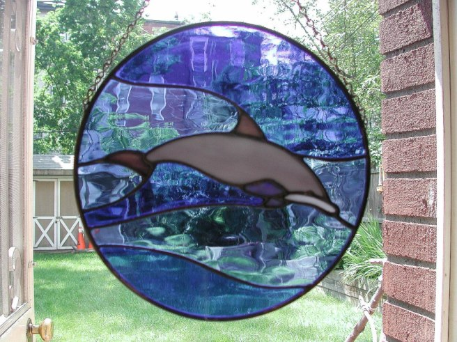 Stained-glass dolphin ornament