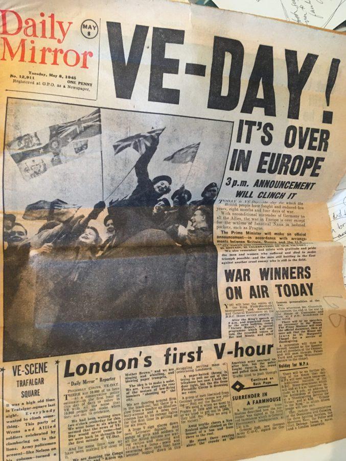 VE Day newspaper headline