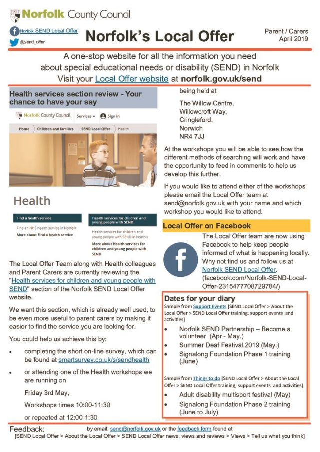 thumbnail of April 19 Parent Newsletter Norfolk's Local Offer