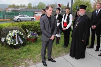 ο πρόεδρος της Ελληνικής Κοινότητας Νυρεμβέργης κ. Κωνσταντάτος σε χαιρετισμό του μετά την κατάθεση στεφάνου