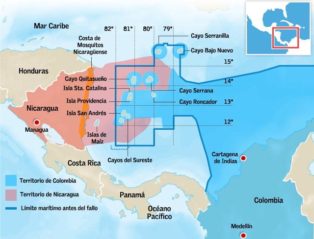 Χάρτης με την ΑΟΖ που αποφάσισε το Διεθνές Δικαστήριο της Χάγης, στη διαμάχη της Νικαράγουας με την Κολομβία