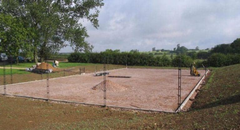 Building a tennis court.