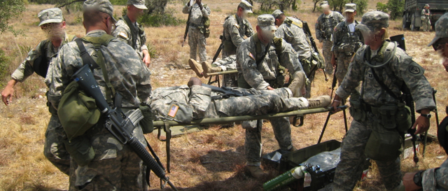 Casualty evacuation exercise at a military training.