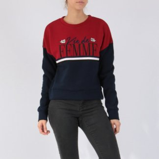 Sporty sweater navy bordeaux steentjes
