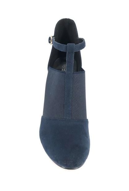 elegante blauwe pump met hak